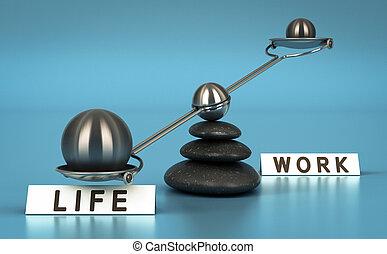 Trabajo y equilibrio de vida sobre azul