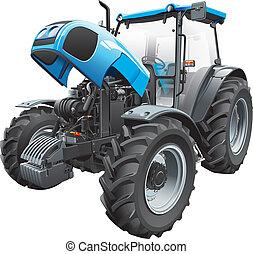 Tractor con capucha abierta