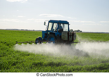 Tractor fertilizante de campo pesticida e insecticida