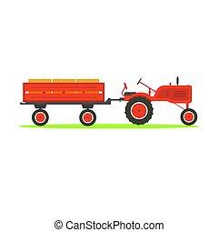 tractor, fondo., remolque, tirar, blanco
