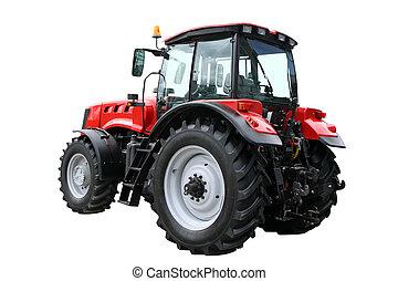 tractor, rojo