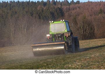 tractor, tarde, pradera