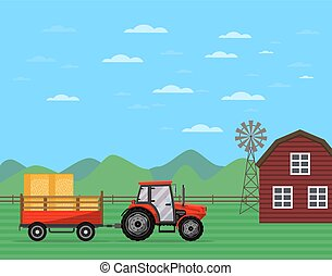 Tractor tirando de remolque con pancarta de heno