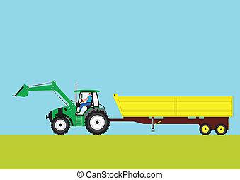 tractor verde y remolque
