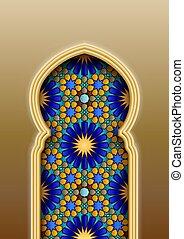 tradicional, árabe, islámico, patrón, arco