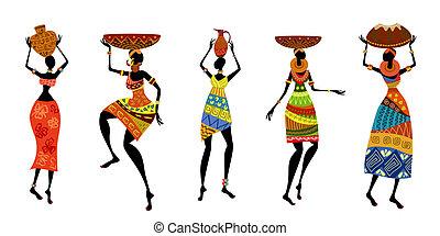 tradicional, africano, vestido, mujeres