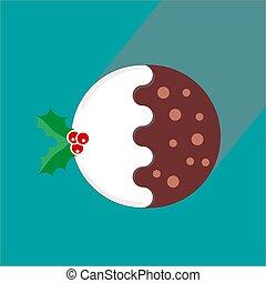 tradicional, berrys, verde, navidad, rojo, vector, ilustración, acebo, pudín, plano, plano de fondo, -