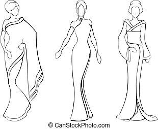 tradicional, bosquejo, asiático, vestidos, mujeres
