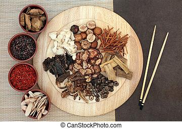 tradicional, chino, hierbas