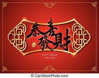 tradicional, desear, prosperidad, chino, usted, palabra