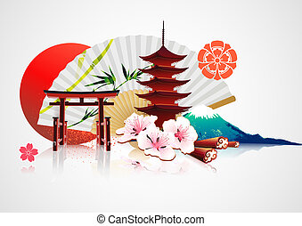 tradicional, japonés, plano de fondo