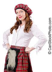tradicional, mujer, ropa, joven, escocés