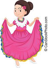 tradicional, niña, vestido