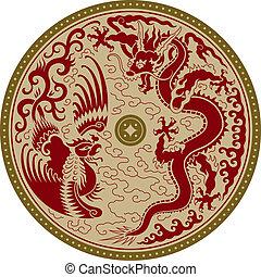 tradicional, ornamento, chino