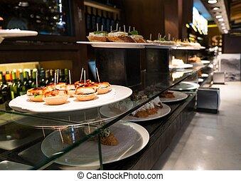 tradicional, placa, restaurante, pinchos, basque