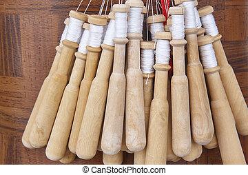 tradicional, telar, galicia., craftmanship, bobina, textil, hecho, artesano, españa