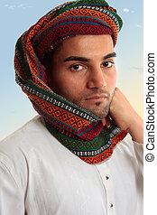 tradicional, turbante, hombre, keffiyeh, árabe