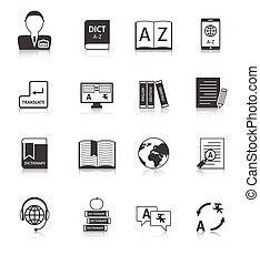 traducción, conjunto, diccionario, iconos