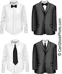 Traje negro y camisas blancas
