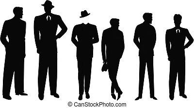 trajes, hombres, silueta, retro