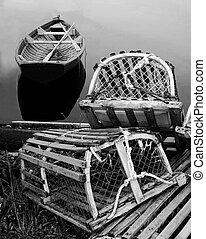 Trampas de langosta, dory-black y blanco