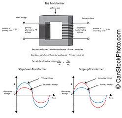 transformador, current., exposición, diagrama, cómo, eléctrico, voltaje, cambios