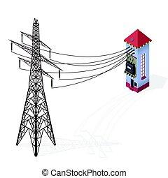 Transformador eléctrico. Información de construcción iométrica gráfica. Una central eléctrica de alto voltaje con un pilón eléctrico.