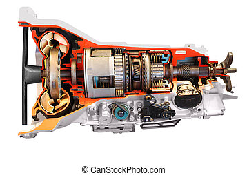 transmisión, coche, automático