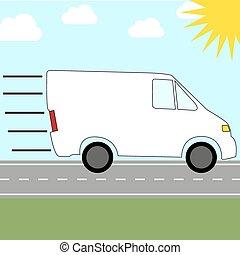 transmitir, furgoneta, servicio de mensajero, -, rápido, equitación, colorido, icono