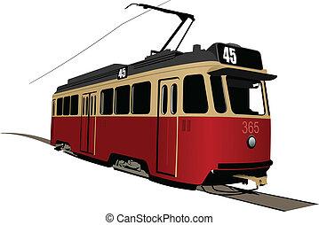 transport., tram., illus, vector, ciudad