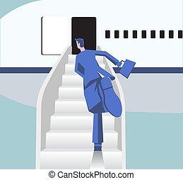 transportation., avión, avión., ilustración, plano, aire, tabla, idea, apuro, vector, corre, aeropuerto., hombre