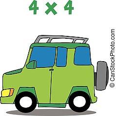 Transporte 4x4 dibujo animado vector de arte