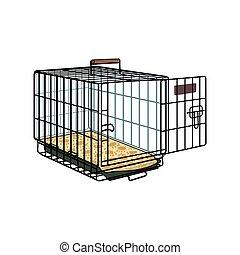 transporte, cajón, mascota, jaula, alambre, perro, metal, gato