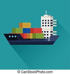 transporte, carga, plano de fondo, azul, barco