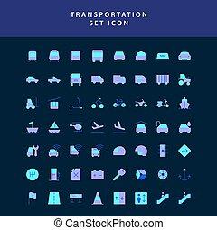 transporte, estilo, icono, diseño determinado, plano