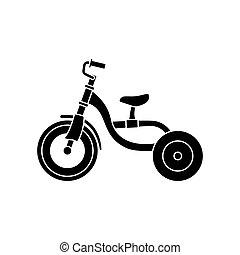 transporte, fondo., acción, blanco, niños, illustration., triciclo