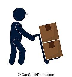 transporte, hombre, caja, trabajando