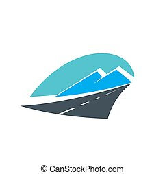 transporte, icono, viaje, camino, montañas, carretera
