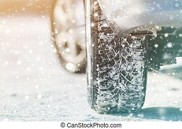 transporte, seguridad, ruedas, visión trasera, snow., diseño, concept., coche, profundo, caucho, neumáticos