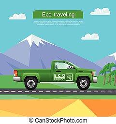 Transporte. Una camioneta verde en la carretera cerca de las montañas