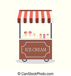 Tranvía de cartón con helado, aislado en fondo blanco