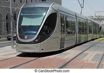 tranvía, moderno, viejo, jerusalén