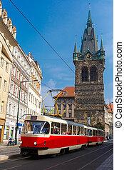 tranvía, retro, torre, praga, rojo, jindrisska, checo