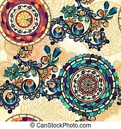 Trasfondo étnico étnico de Paisley Vector Floral.