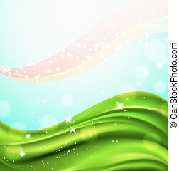 Trasfondo abstracto con campo verde ondulado y partículas de luz brillantes. Vector