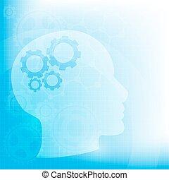 Trasfondo abstracto con engranajes de cabeza y cerebro, vector