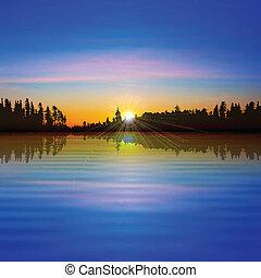 Trasfondo abstracto con lago forestal