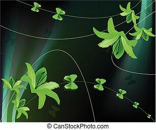 Trasfondo abstracto con lirios verdes y mariposas