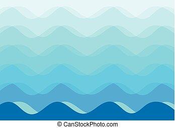 Trasfondo abstracto de olas marinas azules, Vector