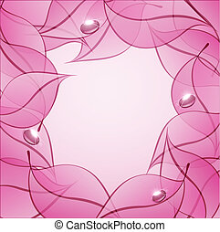 Trasfondo abstracto del vector con hojas rosas y gotas de rocío